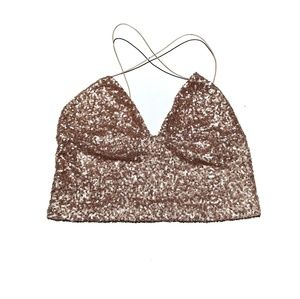 🆕 URBAN OUTFITTERS | Champagne Sequin Crop Top